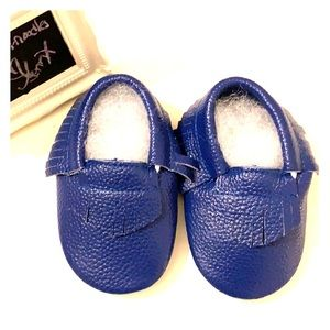 Baby Leather Moccasins-Navy Blue